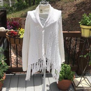BB Dakota White Fringe Sweater